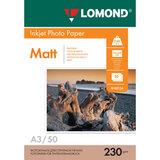 Фотобумага БОЛЬШОГО ФОРМАТА A3, 230 г/м<sup>2</sup>, 50 листов, односторонняя, матовая, LOMOND, 0102156