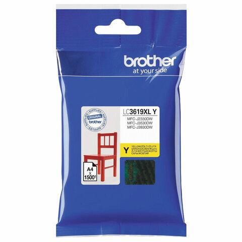 Картридж струйный BROTHER (LC3619XLY) для MFC-J3530DW/J3930DW, желтый, оригинальный, ресурс 1500 страниц
