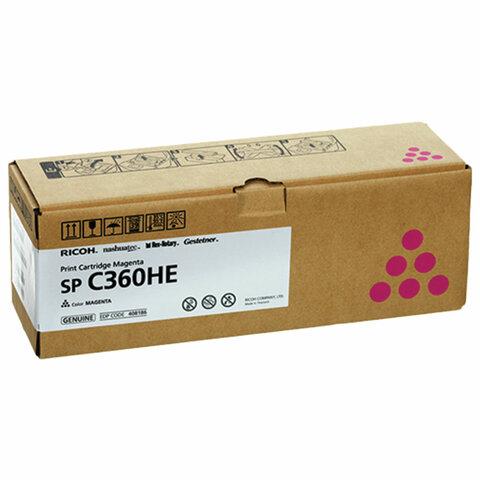 Картридж лазерный RICOH (SP C360HE) для Ricoh SP C360SFNw/C361SFNw, пурпур, оригинальный, ресурс 6000 страниц, 408186
