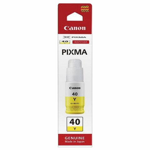 Чернила CANON (GI-40Y) для СНПЧ Pixma G5040/G6040, желтые, ресурс 7700 страниц, оригинальные, 3402C001