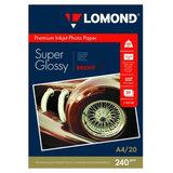 Фотобумага PREMIUM суперглянцевая, А4, 240 г/м<sup>2</sup>, односторонняя, ярко-белая, 20 листов, LOMOND, 1105100