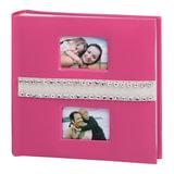 Фотоальбом BRAUBERG на 200 фотографий 10х15 см, индивидуальный бокс, бумажные страницы, 2 рамки для фотографий, розовый, 390678