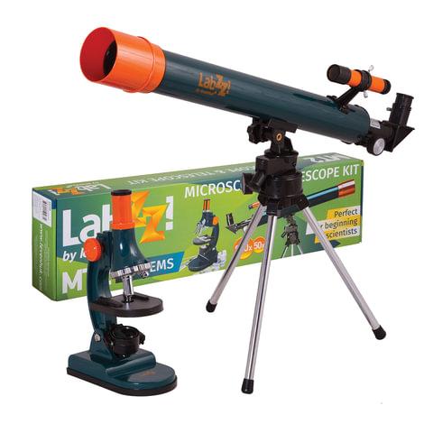 Набор LEVENHUK LabZZ MT2: микроскоп: 75-900 кратный, монокулярный + телескоп: рефрактор, 2 окуляра, 69299