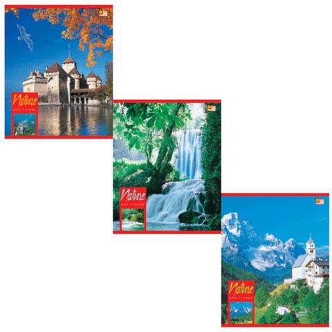 """Тетрадь 48 л., HATBER VK, клетка, обложка мелованный картон, """"Пейзажи"""", 48Т5С1, Т32862"""
