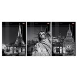 """Тетрадь 96 л., А4 HATBER, линия, выборочный лак, """"City Collection"""" (Города), 96Т4влС4, 96Т4В4"""