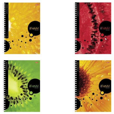 Тетрадь 80 л., А4 HATBER, гребень, клетка, обложка мелованный картон, iFRESH, 80Т4B1гр, T115121