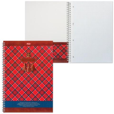 "Тетрадь 100 л., А4, HATBER, спираль, клетка, с карманом, ""Шотландка"", 100Ткм4B1сп 13050, T170137"