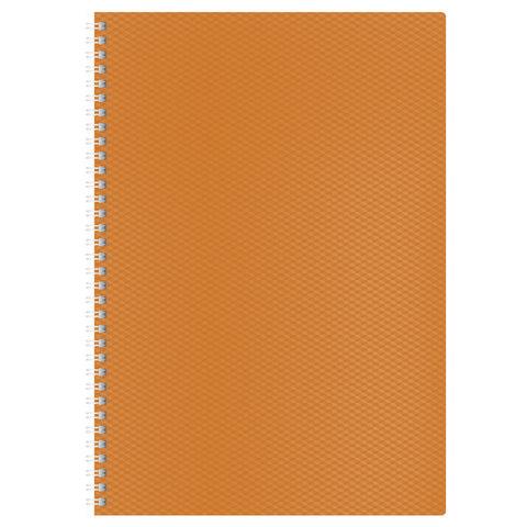 """Тетрадь 80 л., А4, HATBER, гребень, клетка, пластиковая обложка, """"DIAMOND-оранжевая"""", 80Т4B1гр 02035, T165515"""