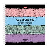 Скетчбук (тетрадь для эскизов), белая бумага, 170х170 мм, 120 г/м<sup>2</sup>, 80 л., гребень, &quot;Simply Colours&quot;, A255759