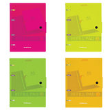 "Тетрадь на кольцах, 80 л., ERICH KRAUSE, А5, 147х205 мм, клетка, пластик, на кнопке, ассорти, ""Neon"", 43537"