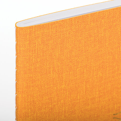 Тетрадь 48 л. в клетку обложка кожзам под рогожку, сшивка, A5 (147х210мм), ЖЕЛТЫЙ, BRAUBERG BRIGHT, 403845