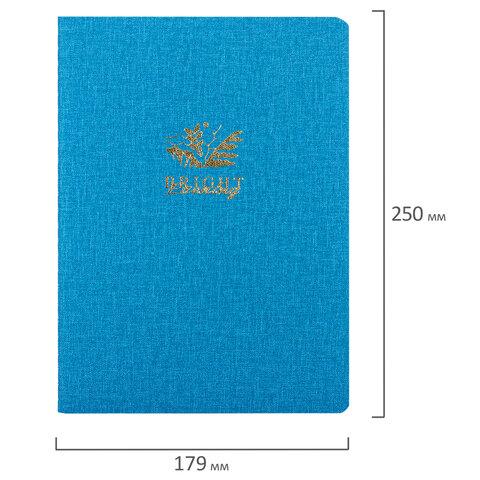 Тетрадь 60 л. в точку обложка кожзам под рогожку, сшивка, B5 (179х250мм), ГОЛУБОЙ, BRAUBERG BRIGHT, 403849