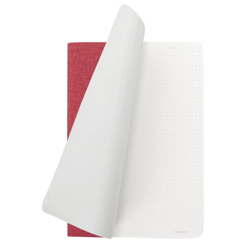 Тетрадь 60 л. в точку обложка кожзам под рогожку, сшивка, B5 (179х250мм), КРАСНЫЙ, BRAUBERG BRIGHT, 403850