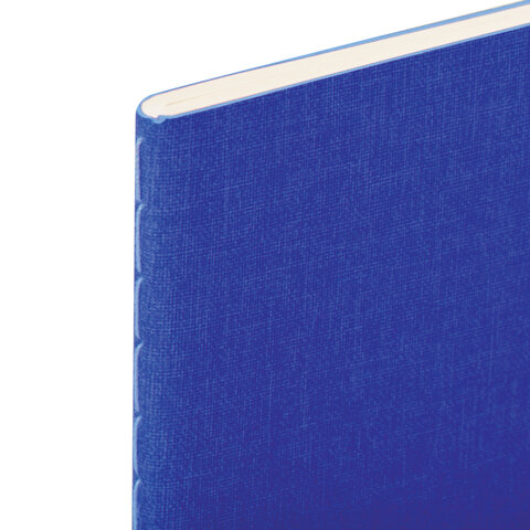 Тетрадь 60 л. в клетку обложка кожзам под лён, сшивка, В5 (179х250мм), СИНИЙ, BRAUBERG PASTEL, 403875