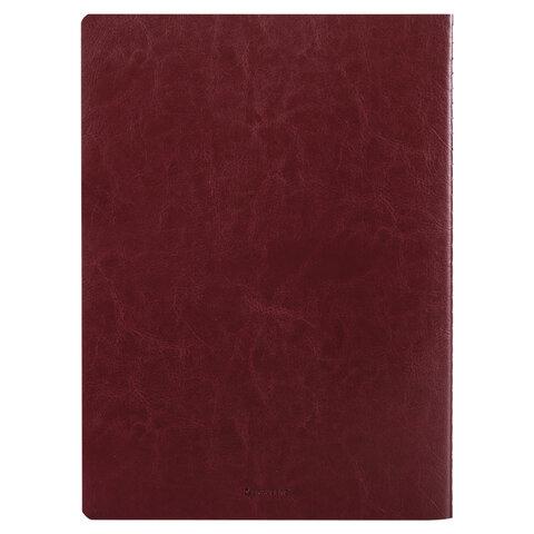Тетрадь 60 л. в клетку обложка гладкий кожзам, сшивка, А4 (210х297мм), БОРДОВЫЙ, BRAUBERG VIVA, 403908