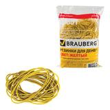 Резинки банковские универсальные диаметром 60 мм, BRAUBERG 1000 г, желтые, натуральный каучук, 440104