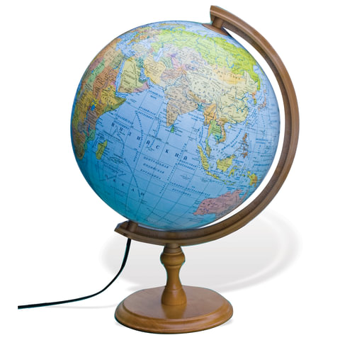 Глобус политический/физический GLOWALA, диаметр 320 мм, деревянная подставка, ZM320FP