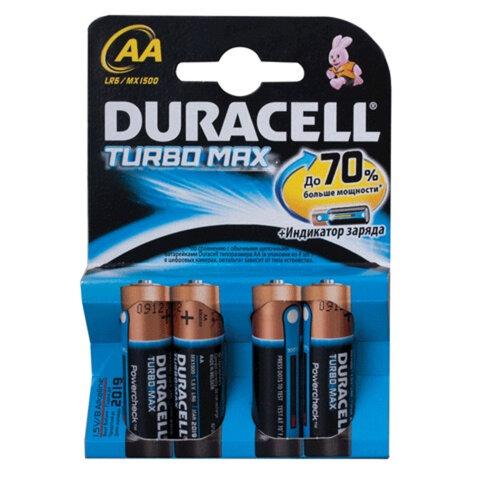 Батарейки DURACELL Turbo AA LR6, КОМПЛЕКТ 4шт., блистер, 1.5В, (самые мощные щелоч.батарейки)  (шк9190)