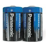 Батарейки КОМПЛЕКТ 2шт., PANASONIC D R20 (373), солевые, в пленке, 1.5 В