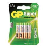 Батарейки КОМПЛЕКТ 4 шт., GP Super, AAA (LR03, 24А), алкалиновые, мизинчиковые, блистер, 24A-2CR4