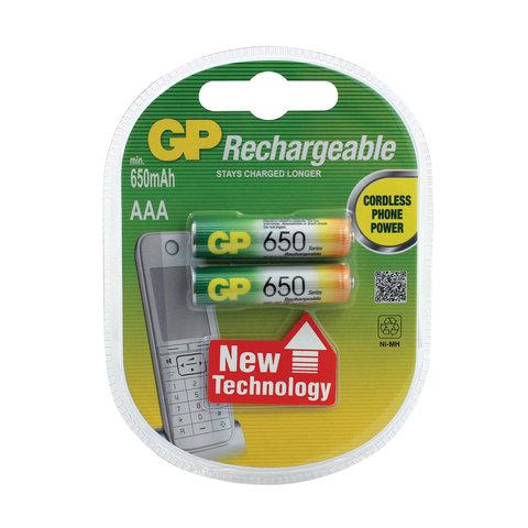 Батарейки аккумуляторные GP, AAA, Ni-Mh, 650 mAh, КОМПЛЕКТ 2 шт., блистер, 65AAAHC-2DECRC2, 65АAАНС-UC2
