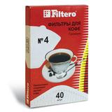 Фильтр FILTERO ПРЕМИУМ №4 для кофеварок, бумажный, отбеленный, 40 штук, №4/40