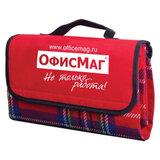 """Плед для пикника ОФИСМАГ, 120х140 см, водоотталкивающий нижний слой, """"красная шотландка"""", 451030"""