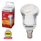 Лампа люминесцентная энергосберегающая SONNEN зеркальная Т2, 9 (40) Вт, цоколь E14, 12000 ч., d=50 мм, теплый свет, премиум, 451082