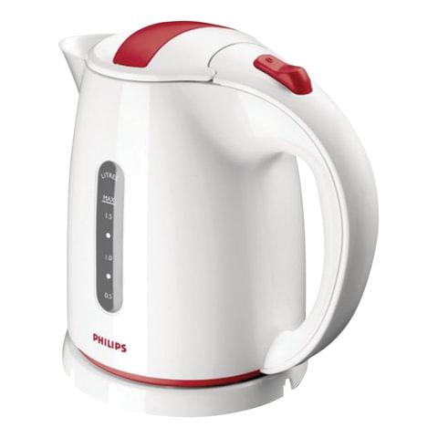 Чайник PHILIPS HD4646/40, 1,5 л, 2400 Вт, закрытый нагревательный элемент, пластик, белый с красным