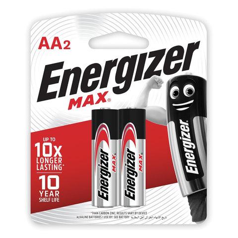 Батарейки КОМПЛЕКТ 2 шт., ENERGIZER Max, AA (LR06, 15А), алкалиновые, пальчиковые, блистер, E300157000