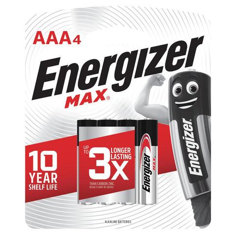 Батарейки КОМПЛЕКТ 4 шт., ENERGIZER Max, AAA (LR03, 24А), алкалиновые, мизинчиковые, блистер, E300157304