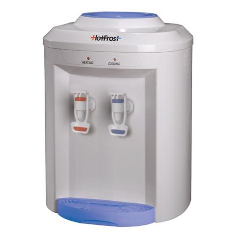 Кулер для воды HOT FROST D75E, настольный, НАГРЕВ/ОХЛАЖДЕНИЕ ЭЛЕКТРОННОЕ, 2 крана, белый/голубой, 110207501