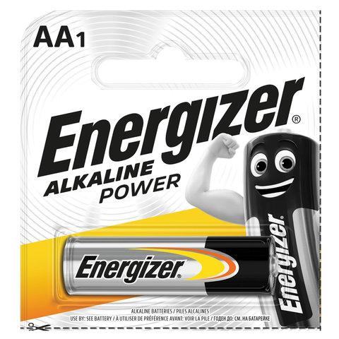 Батарейка ENERGIZER Alkaline Power, AA (LR06, 15А), алкалиновая, пальчиковая,1 шт., в блистере (отрывной блок), E300140301