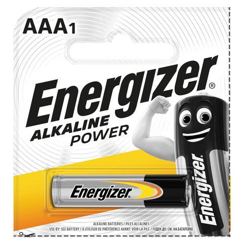Батарейка ENERGIZER Alkaline Power, AAA (LR03, 24А), алкалиновая, мизинчиковая,1 шт., в блистере (отрывной блок), Е300140400