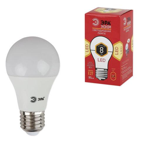 Лампа светодиодная ЭРА, 8 (55) Вт, цоколь E27, грушевидная, теплый белый свет, 25000 ч., LED smdA55\60-8w-827-E27ECO, A60-8w-827-E27