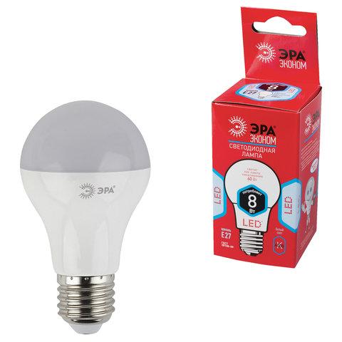 Лампа светодиодная ЭРА, 8 (55) Вт, цоколь E27, грушевидная, холодный белый свет, 25000 ч., LED smdA55\60-8w-840-E27ECO, A60-8w-840-E27