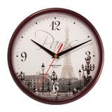 """Часы настенные TROYKA 91931927, круг, с рисунком """"Paris"""", коричневая рамка, 23х23х4 см"""