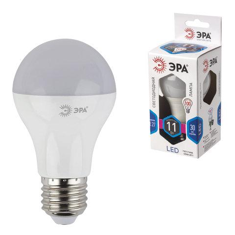 Лампа светодиодная ЭРА, 11 (100) Вт, цоколь E27, грушевидная, холодный белый свет, 30000 ч., LED smdA60-11w-840-E27, Б0020533