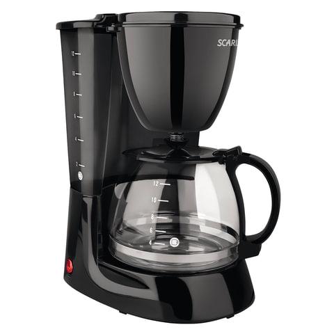 Кофеварка капельная SCARLETT SC-CM33007, 750 Вт, 1,25 л, антикапля, подогрев, пластик, черная, SC - CM33007