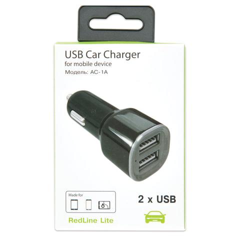 Зарядное устройство автомобильное RED LINE AC-1A, кабель microUSB 1 м, 2 порта USB, выходной ток 1 А, черное, УТ000012246
