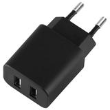 Зарядное устройство сетевое (220 В) DEPPA Ultra, 2 порта USB, выходной ток 2,1 А, черное, 11308