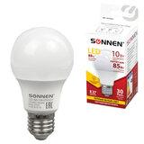 Лампа светодиодная SONNEN, 10 (85) Вт, цоколь Е27, грушевидная, теплый белый свет, 30000 ч, LED A60-10W-2700-E27, 453695