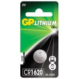 Батарейка GP Lithium, CR1620, литиевая, 1 шт., в блистере, CR1620-7C1