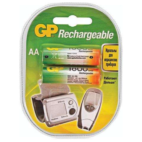 Батарейки аккумуляторные GP, АА, Ni-Mh, 1800 mAh, КОМПЛЕКТ 2 шт., блистер, 180AAHC-2DECRC2