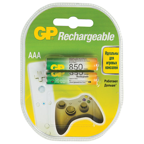 Батарейки аккумуляторные GP, AAA, Ni-Mh, 850 mAh, КОМПЛЕКТ 2 шт., блистер, 85AAAHC-2DECRC2