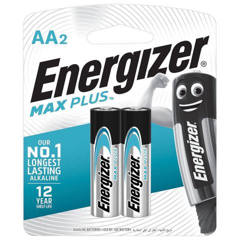 Батарейки КОМПЛЕКТ 2 шт., ENERGIZER Max Plus, AA (LR06,15А), алкалиновые, пальчиковые, блистер, E301323101