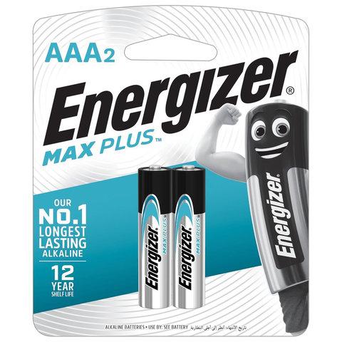 Батарейки КОМПЛЕКТ 2 шт., ENERGIZER Max Plus, AAA (LR03, 24А), алкалиновые, мизинчиковые, блистер, E301306501