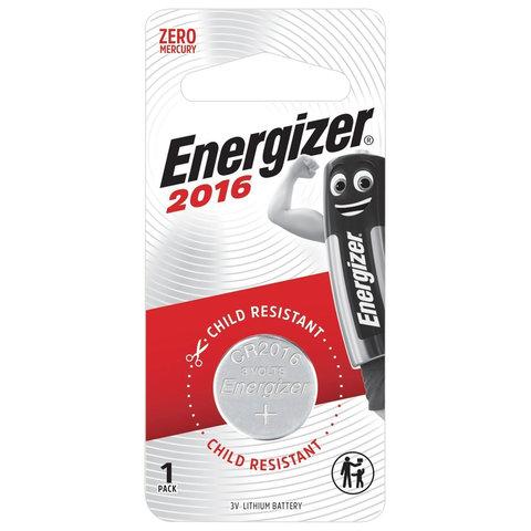 Батарейка ENERGIZER, CR 2016, литиевая, 1 шт., в блистере, E301021801