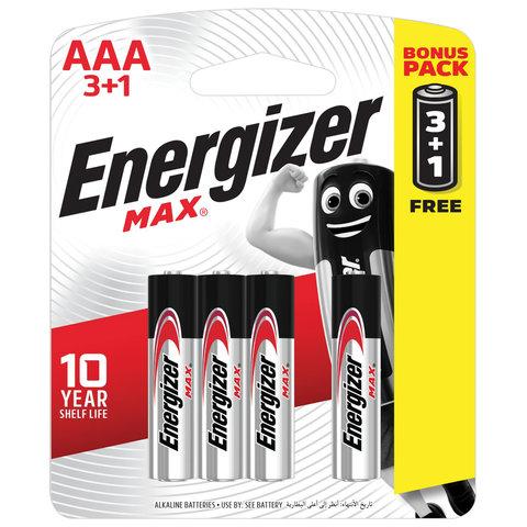 Батарейки КОМПЛЕКТ 4 шт., ENERGIZER Max, ПРОМО 3+1, AAA (LR03, 24А), алкалиновые, мизинчиковые, блистер, E300248501S