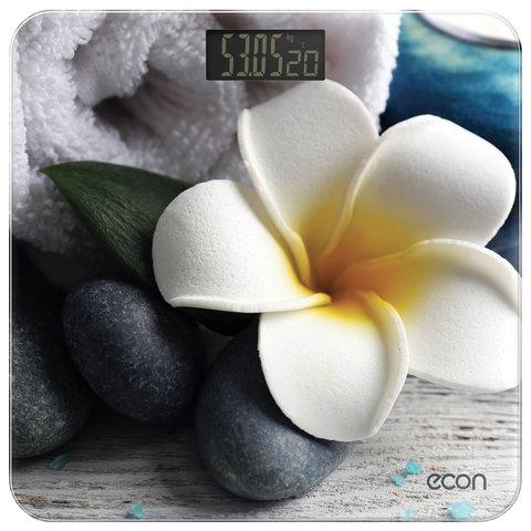 Весы напольные ECON ECO-BS004, электронные, вес до 180 кг, термометр, квадратные, стекло, с рисунком